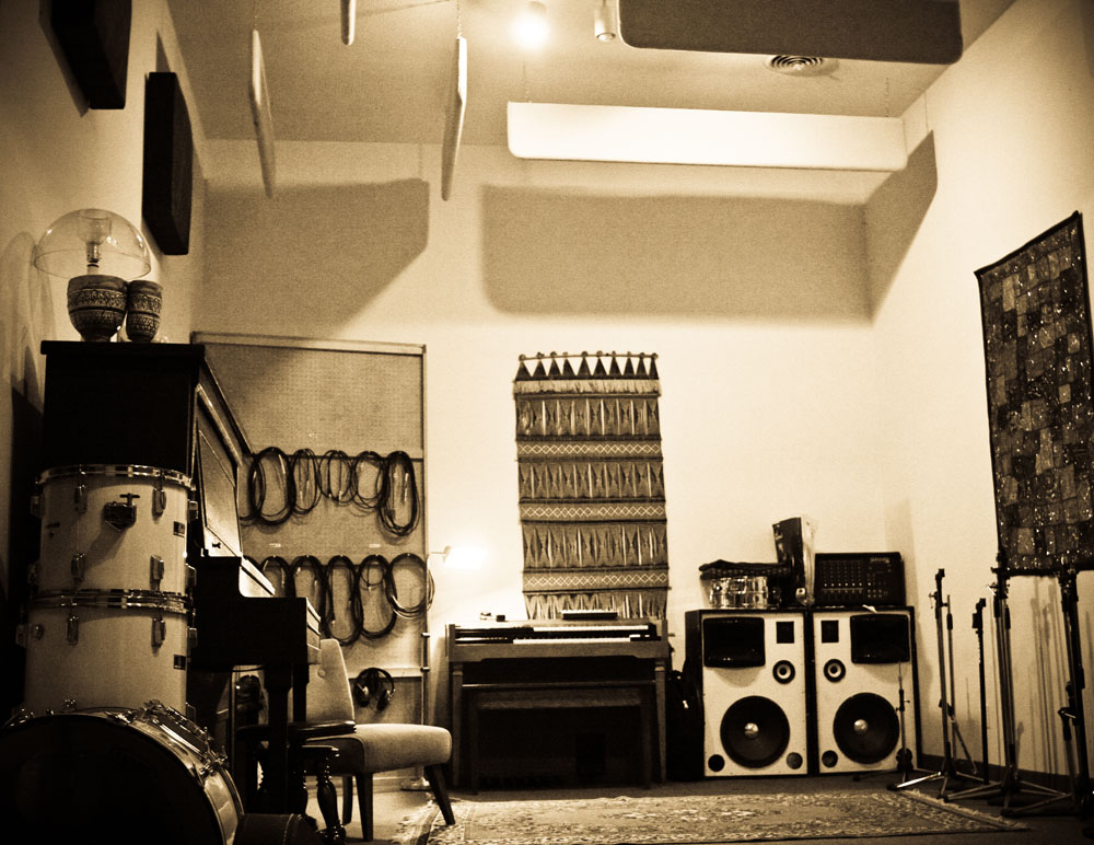 Recording studio, live room, long angle, sepia