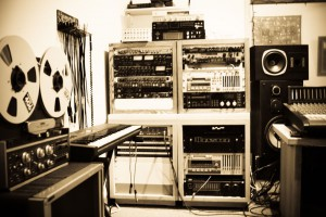 Recording studio, left of board, sepia