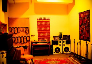 Recording studio, long shot of live room.