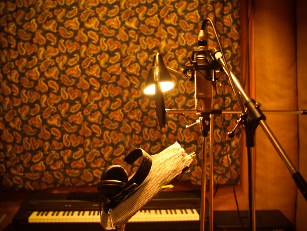 Recording studio, live room, rich colour